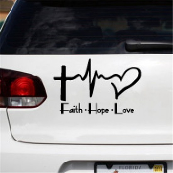Religieus Bijbelsymbool Faith Hope Love Autosticker