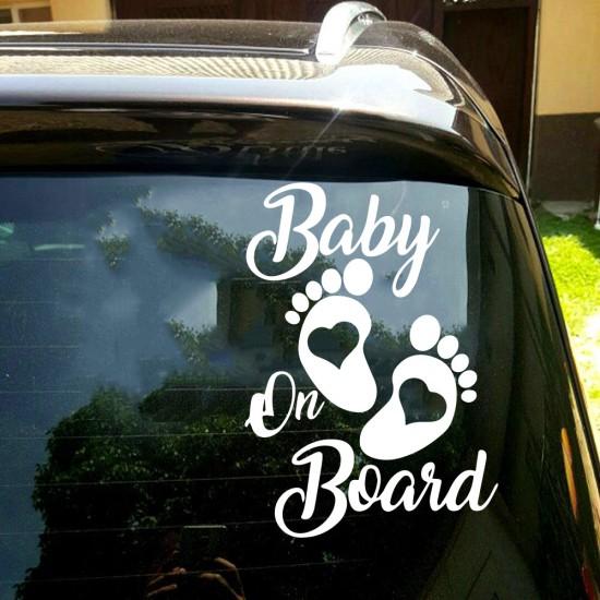 Autosticker Baby Voetafdruk Baby On Board