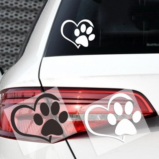 Hond Poot met Hart Auto Sticker