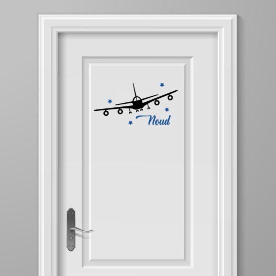Vliegtuig Sterren Deursticker Naam
