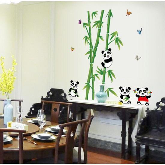Muursticker Bamboe Panda's