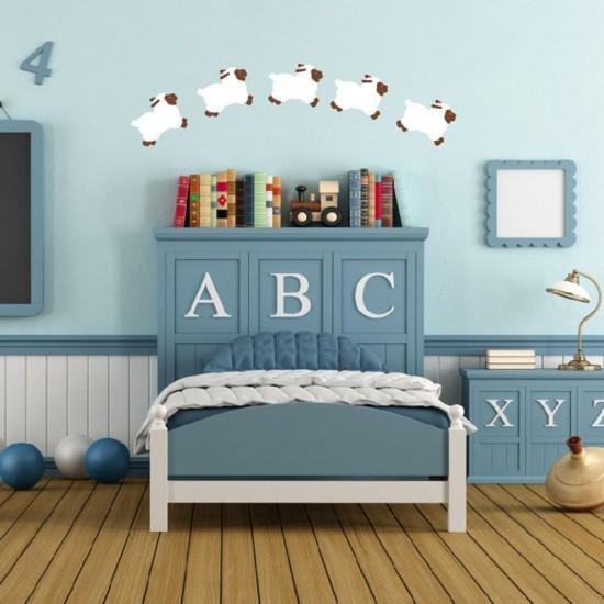 Muursticker 6 Schapen voor Babykamer