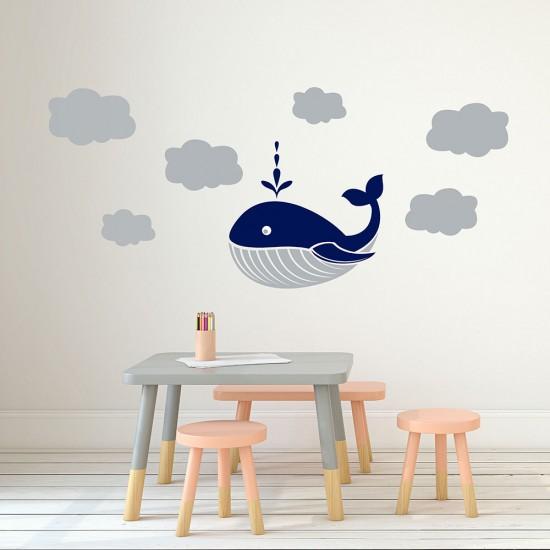 Muursticker Walvis Wolken