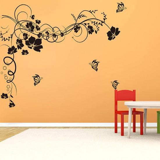 Muursticker Vlinders Bloemenrank