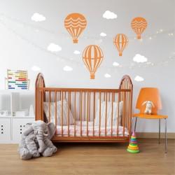 Muursticker Heteluchtballon en Wolken