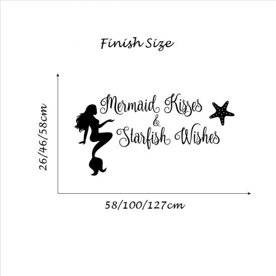 Tekst Muursticker Mermaid Kisses Starfish Wishes