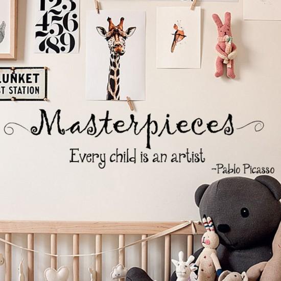 Babykamer Tekst Muursticker Every Child Is an Artist