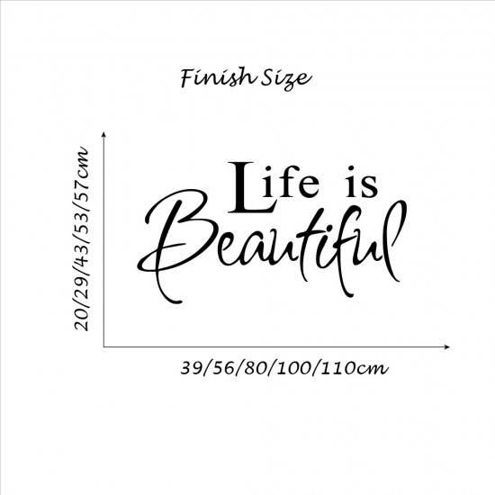 Muursticker Life is Beautiful voor Woonkamer Slapkamer