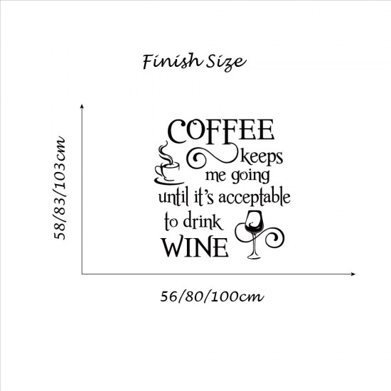 Muursticker Coffe and Wine