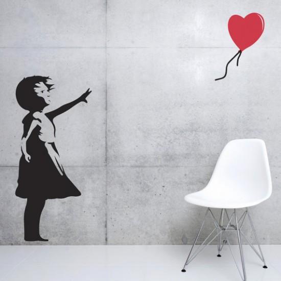 Muursticker Banksy Girl met Balon