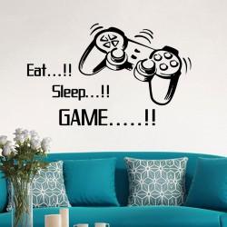 Muursticker Game Tekst Eat Sleep Game