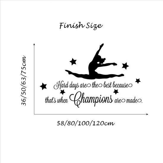 Gymnastische Meisje Champions Muurteksten