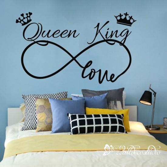 Queen King Muursticker met Liefde Oneindig Teken