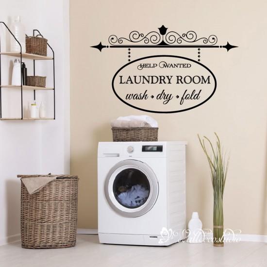 Muurteksten Was symbolen Laundry Sticker
