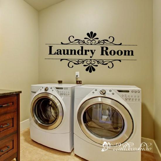 Muurteksten Laundry  Muursticker Washok Was symbolen