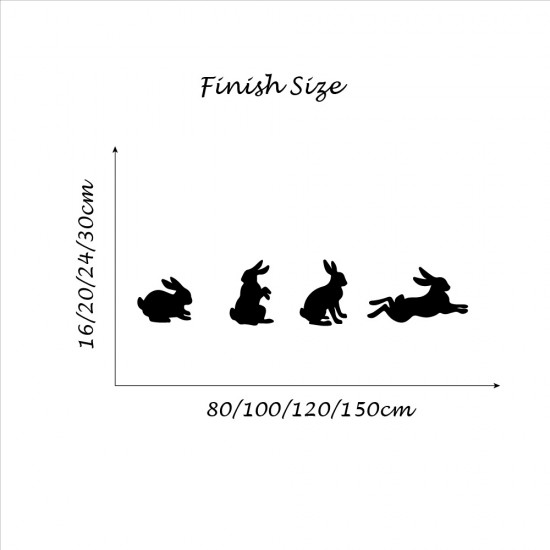4 konijnen/Set Muursticker