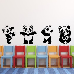 4 panda's Muursticker