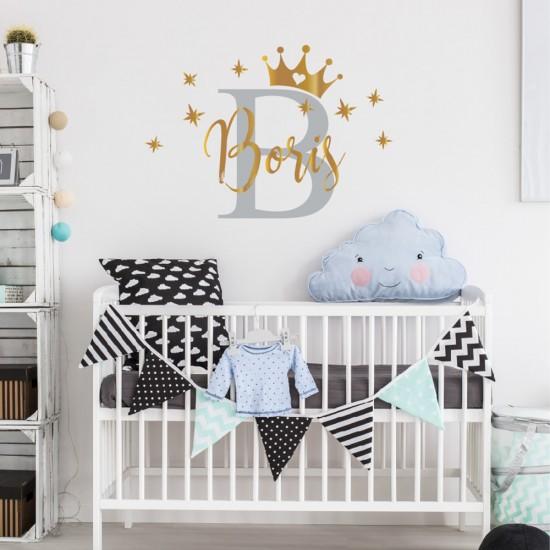 Kroon Sterren Naam Muursticker voor Babykamer