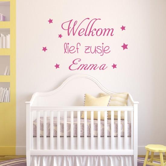 Tekst Geboortekaartje Welkom Lief  Zusje met Baby Naam