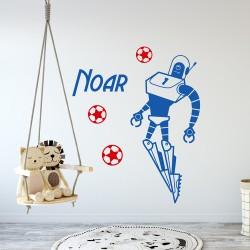 Muursticker Robot Voetballen met Naam