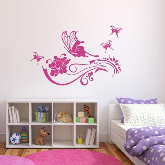 Muursticker Bloemenrank en Vlinder