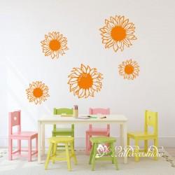 5 Zonnebloemen  Muursticker