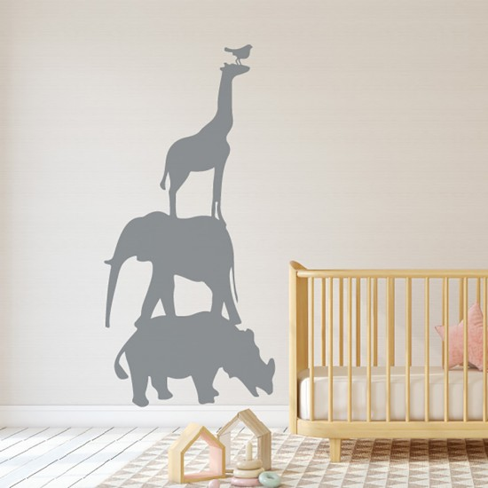 Muursticker Neushoorn Giraffe Olifant Vogel