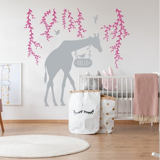 Muursticker Giraffe en Bloem Wijnstok