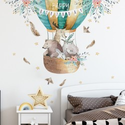 Hete Luchtballon Verjaardagscadea Muursticker