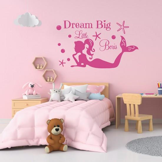 Muursticker Dream Big Meermin en Naam