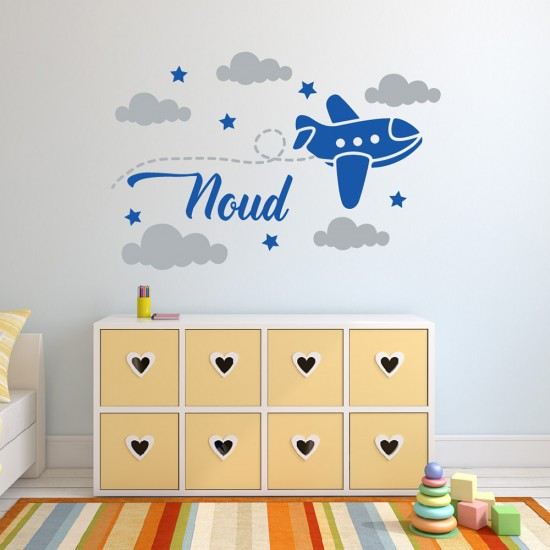 Muursticker Vliegtuig Wolken met Naam