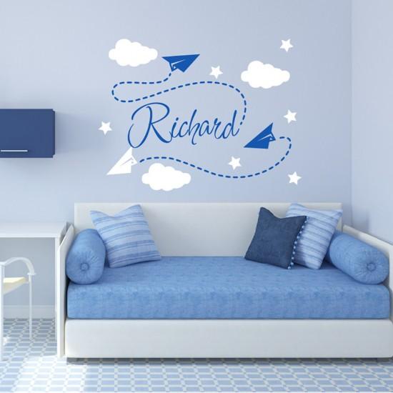 Muursticker Origami-vliegtuigen Wolken met Naam