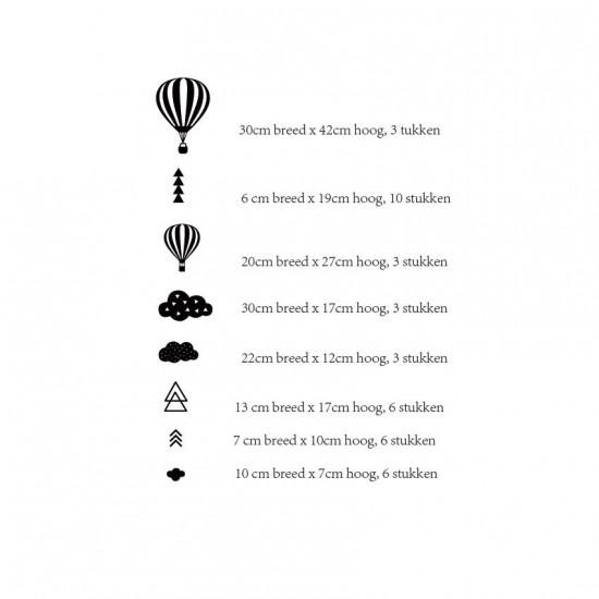 Heteluchtballonnen Wolken Driehoeken