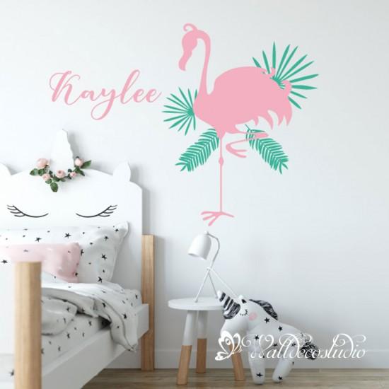 Flamingo Tropische Bladeren en Naam