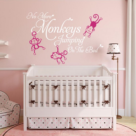 No More Monkeys Jumping On the Bed Tekst Sticker