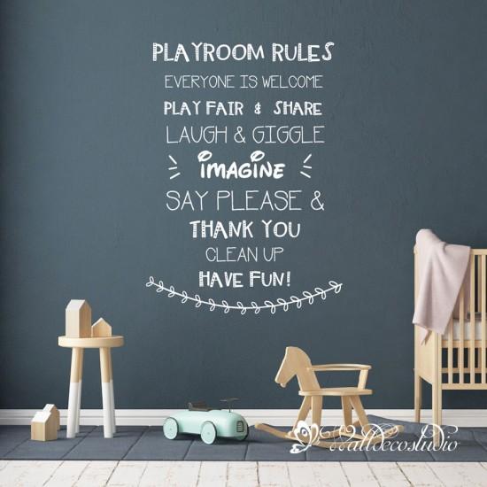 Playroom Rules Muursticker