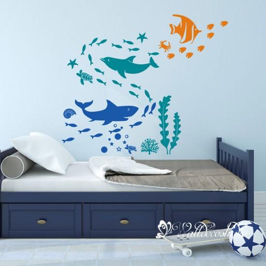 Dolfijn Haai Zeewezens Muursticker