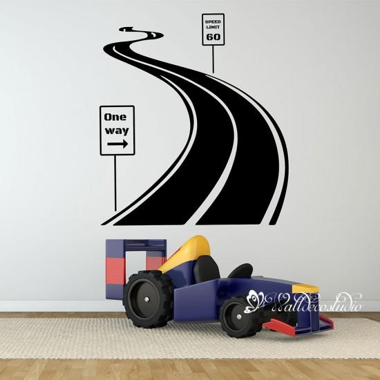 Snelweg met Snelheidslimiet Verkeersboard Jongen Kamer Sticker