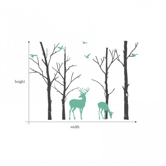 Berkenbomen met Herten