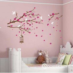 Sakura met Vogelkooi en Vogels