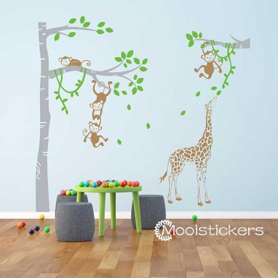 Boom met Giraffe en Apen