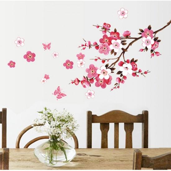 Sakura Bloesemtak Met Vlinder Muursticker