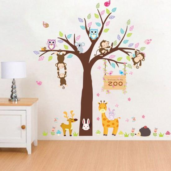 Apen Uilen op Boom voor Kinderkamer